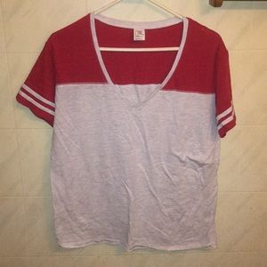 Red & Grey T-shirt with striped sleeves