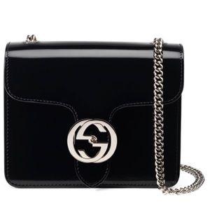 Gucci polished leather shoulder bag
