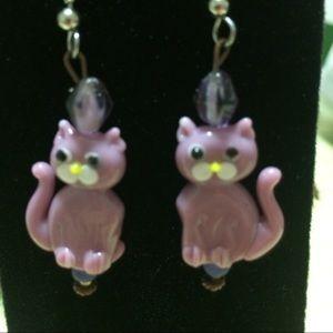 Handmade Glass Cat Earrings