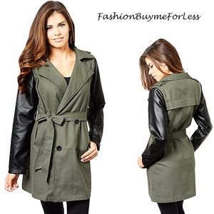 Olive Safari Double Breasted Belted Trench Coat