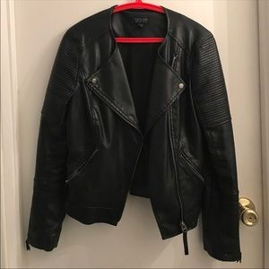 Topshop leather jacket no collar