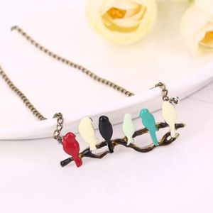 Lovely Bird on Branch Enamel Bird Pendant Necklace