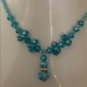 Handmade Blue Austrian Crystal Beaded Necklace
