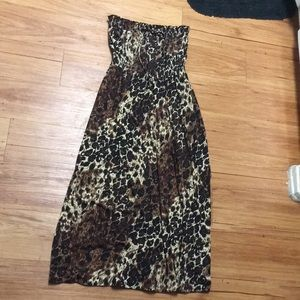 Sexy maxi fall brown tan black cheetah print