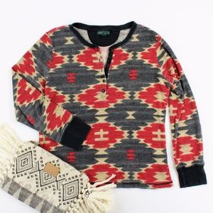 LRL JEANS CO Aztec Print Thermal Shirt