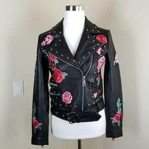 {BELLE•VERE} Embellished Studded Leather Jacket