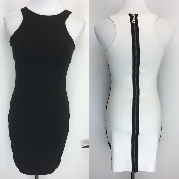 Bebe Dresses Black Front White Back Zippered Bodycon Dress Poshmark