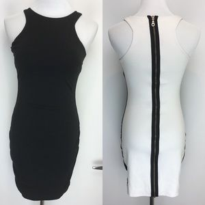 Bebe Black Front White Back Zippered Bodycon Dress