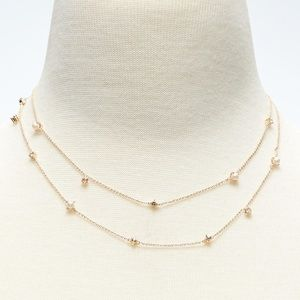 NWOT delicate pearl double-strand gold necklace