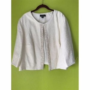 R&M Richards Beaded White Silver Jacket 24W