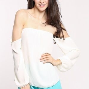 White Chiffon Off Shoulder Top