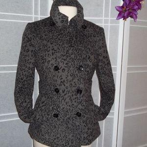 Moda International Animal Print Jacket-Gray/Black
