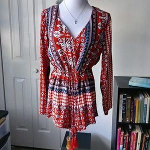 Bohemian flowy silky blouse / tunic top