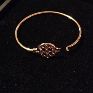 "MK 7"" Gold & Crystal Clasp Logo Bracelet"