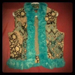 Flirty DStudio Turquoise Rabit Fur Vest