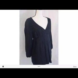 Ella MossLg Blk Bohemian time back blouse