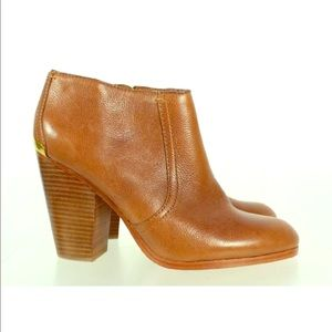 Coach Brown Leather Block Heels Booties