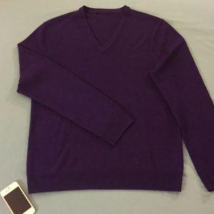 Express Purple Merino V-Neck Sweater (MD)