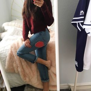 Forever 21 Dark Red (Maroon) Distressed Sweater