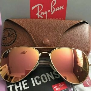 62mm Ray Bans aviator sunglass with rose gold lens