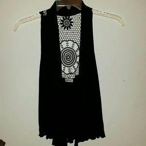 Slinky crochet back sleeveless cardigan vest