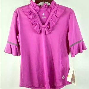 ALL Jofit Activewear Orchid Ruffled 1/2-Sleeve Top