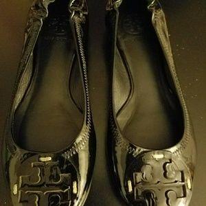 Tory Burch Reva Ballet Flats Black Leather Size 5