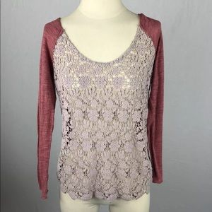 FREE PEOPLE Crochet Scoop Off Shoulder Sweater M/L