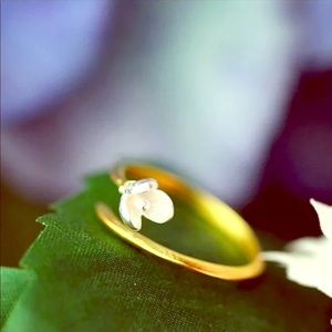Jewelry - Silver and gold plated Lotus bud Adjustable Ring