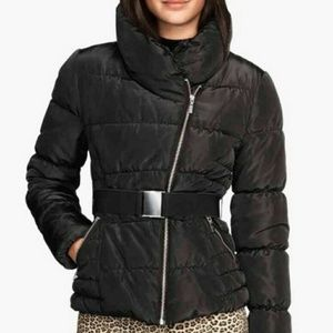 H&M black belted puff coat.