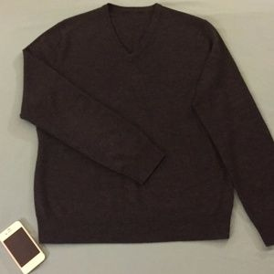 Express Gray/Charcoal Merino V-Neck Sweater (MD)