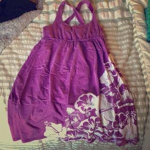 Purple/ white tropical, floral cotton dress