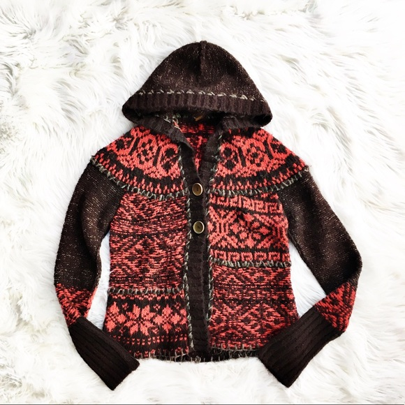 98d69e4a1bdd6d Free People Sweaters - Free People fair isle hooded cardigan sweater