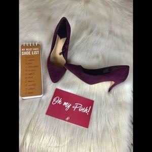 H&M Plum  Faux Suede Heels Size 7
