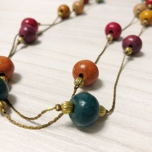 Extra Long Wooden Beaded Necklace