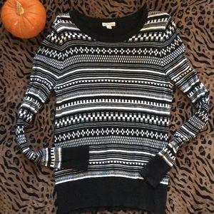Merona Black and White Sweater Large