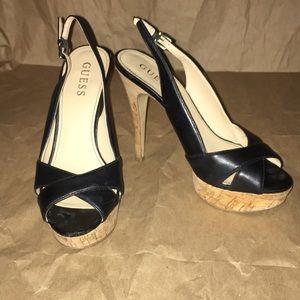 Guess open toe heels black size 6.