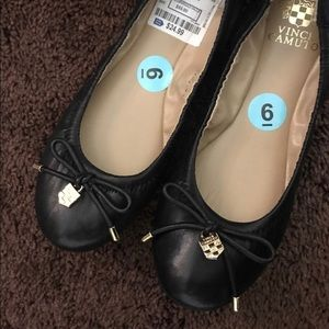Authentic Vince Camuto Black Leather Flats NWT 6