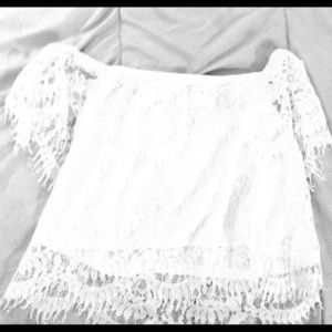 White lace crop top with a white tank attached