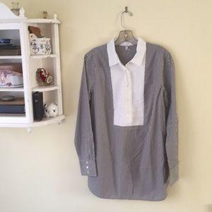 JCrew Collared Bib Popover Shirt in Stripe