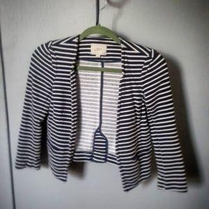 Blue and White Striped Blazer