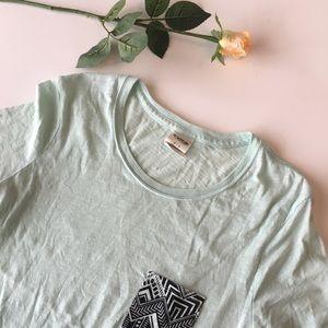 Pink | mint t shirt with black Aztec print pocket