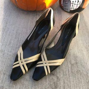 Bandolino Black & Ivory Pointed Kitten Heels