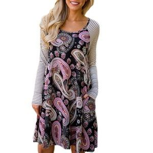 Super Soft Modal Paisley Dress in Purple w Stripes