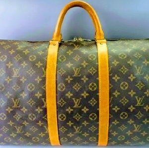 Authentic Louis Vuitton Bandouliere 55 Duffle Bag