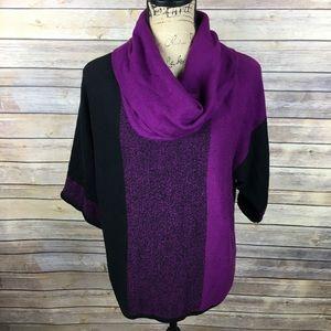 Style & Co Sz XS Purple Black Cowl Neck Top NWT