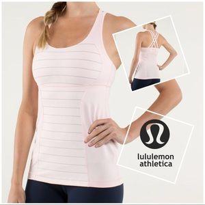 Lululemon Energy Tank, light pink w stripes, sz 8