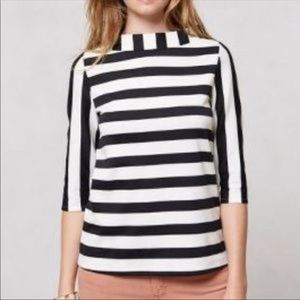 3/4 Sleeve Striped funnelneck Top