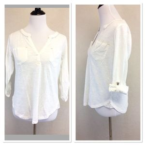 S ANTHROPOLOGIE white tab sleeve henley top