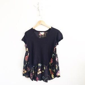 Anthropologie Deletta Hi-Low Navy Floral T-Shirt